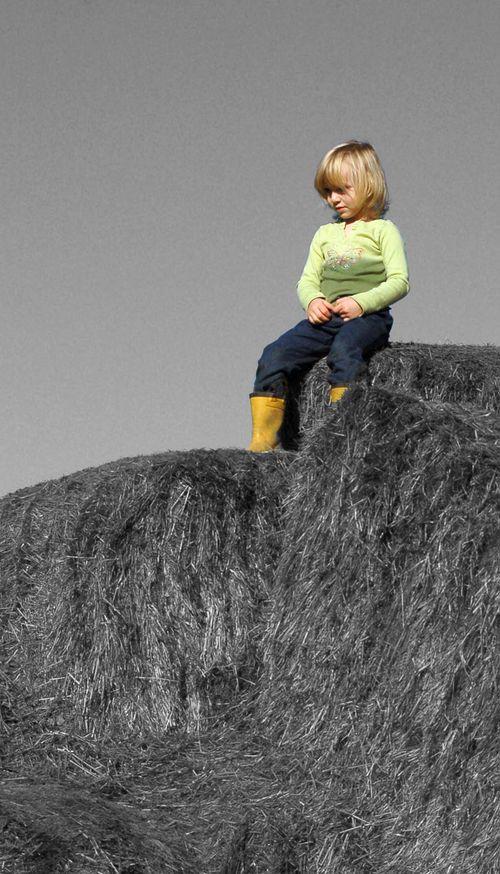 Hay Girl in BW
