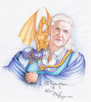 Anne McCaffrey with dragons